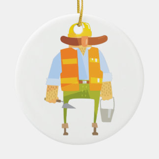 Builder With Trowel And Bucket On Construction Ceramic Ornament