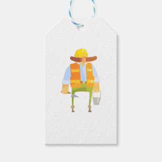 Builder With Trowel And Bucket On Construction Gift Tags