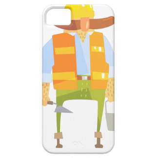 Builder With Trowel And Bucket On Construction iPhone 5 Case