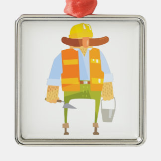 Builder With Trowel And Bucket On Construction Metal Ornament