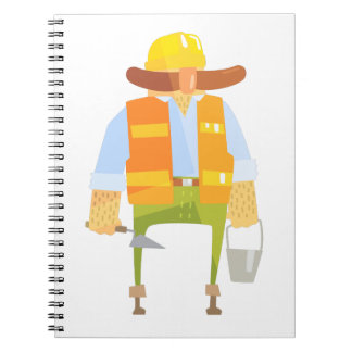 Builder With Trowel And Bucket On Construction Notebooks