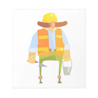 Builder With Trowel And Bucket On Construction Notepad