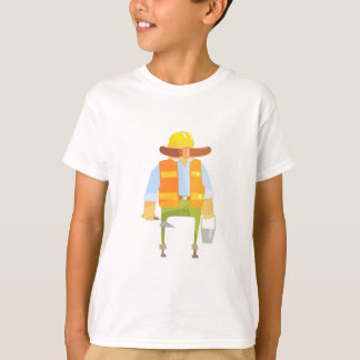 Builder With Trowel And Bucket On Construction T-Shirt