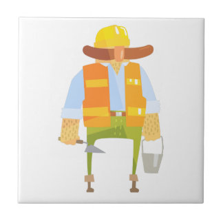 Builder With Trowel And Bucket On Construction Tile
