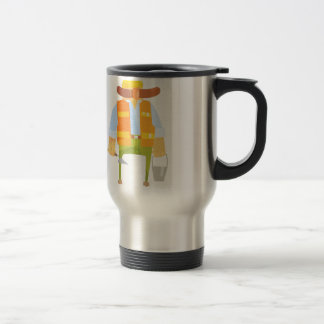 Builder With Trowel And Bucket On Construction Travel Mug