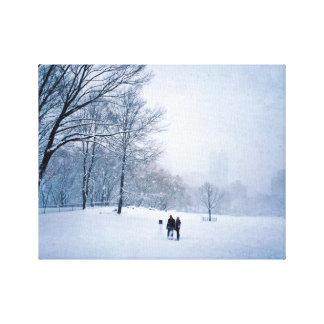 Building A Snowman In Central Park Canvas Print