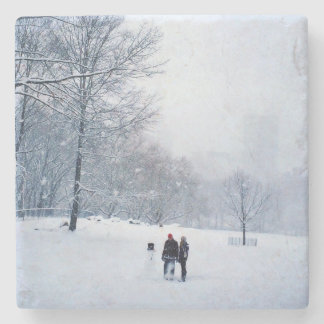 Building A Snowman In Central Park Stone Beverage Coaster