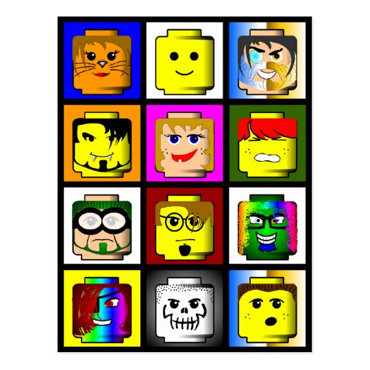 Building Block Heads postcard