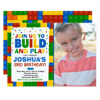 Building Blocks Birthday Invitation Bricks Party