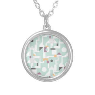 Building Blocks - blue Silver Plated Necklace