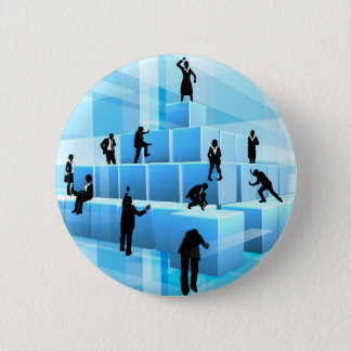 Building Blocks Business Team People Silhouettes 2 Inch Round Button