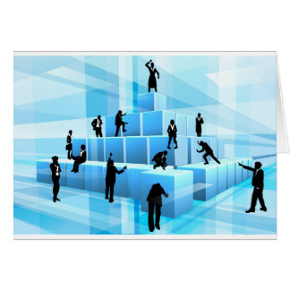 Building Blocks Business Team People Silhouettes Card