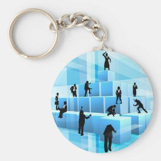 Building Blocks Business Team People Silhouettes Keychain