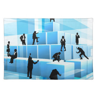 Building Blocks Business Team People Silhouettes Placemat