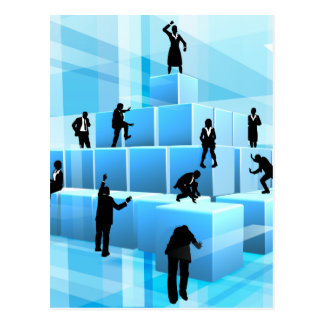 Building Blocks Business Team People Silhouettes Postcard