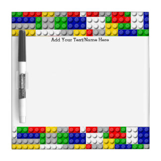 Building Blocks Primary Color Boy's Birthday/Party Dry Erase Whiteboard