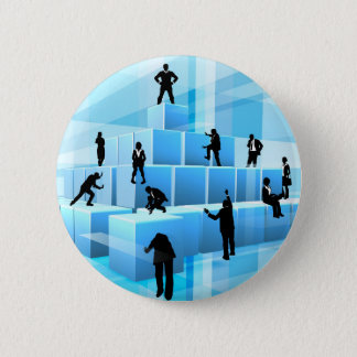 Building Blocks Silhouette Business Team People 2 Inch Round Button