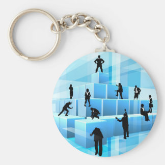 Building Blocks Silhouette Business Team People Keychain