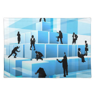 Building Blocks Silhouette Business Team People Placemat