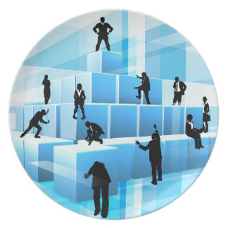 Building Blocks Silhouette Business Team People Plate