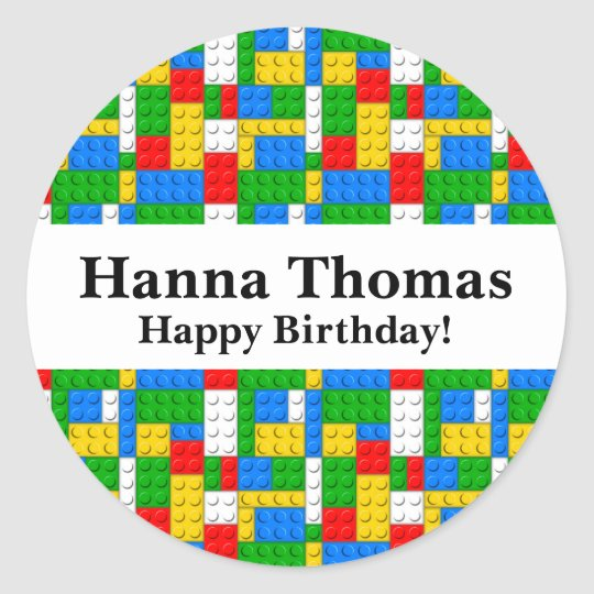 Building Bricks Birthday Classic Round Sticker