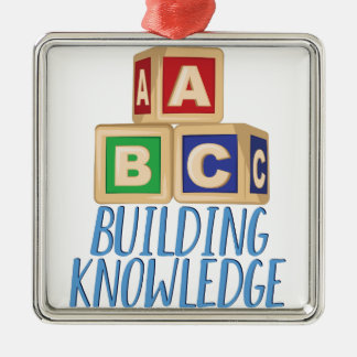 Building Knowledge Silver-Colored Square Ornament