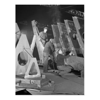 Building Liberty Ships, 1941 Postcard