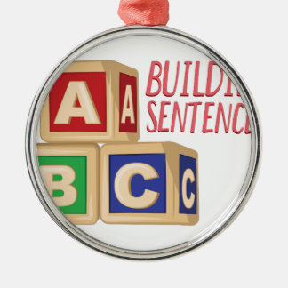 Building Sentences Silver-Colored Round Ornament