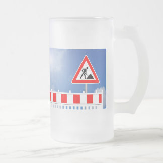 Building site, building site closing and building frosted glass beer mug