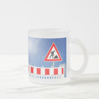 Building site, building site closing and building frosted glass coffee mug
