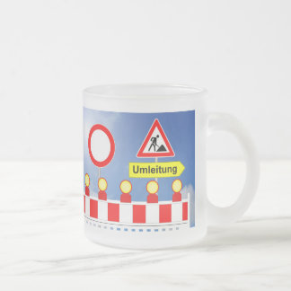 Building site passage forbade and bypass frosted glass coffee mug