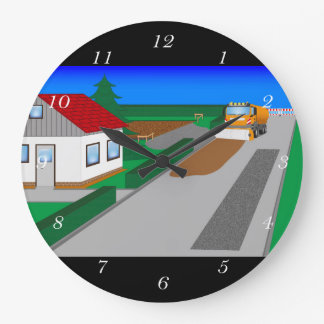 Building site with sweeping machine clocks