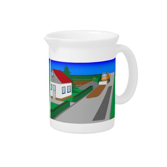 Building site with sweeping machine drink pitcher