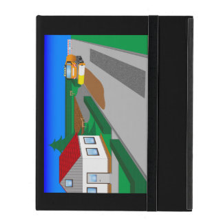 Building site with sweeping machine iPad cover