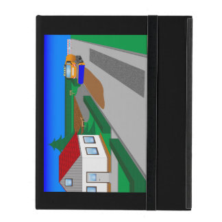 Building site with sweeping machine iPad folio case