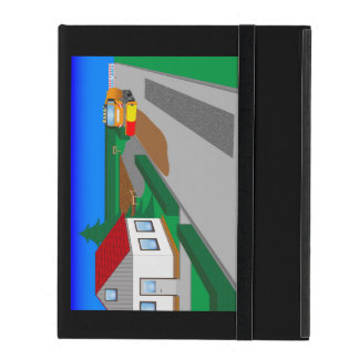 Building site with sweeping machine iPad folio cover