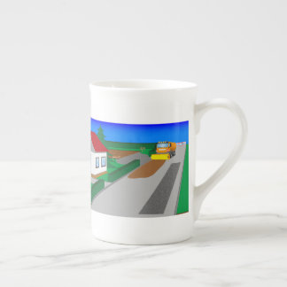 Building site with sweeping machine tea cup