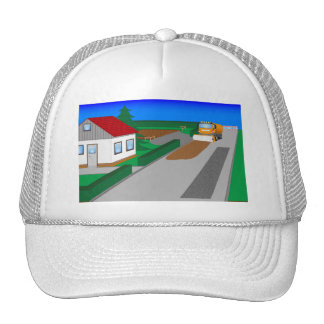 Building site with sweeping machine trucker hat