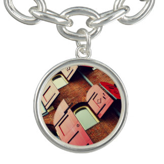 Building Themed, Tall Red Brick Apartment Building Bracelets