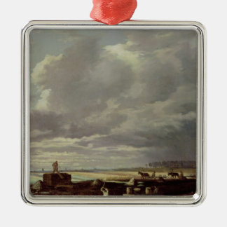 Building Work on a Railway Line, 1871 Silver-Colored Square Ornament