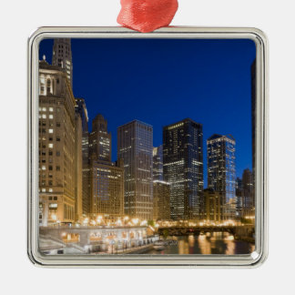 Buildings along the Chicago Riverfront at dusk. Metal Ornament