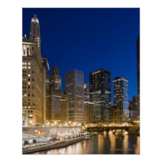 Buildings along the Chicago Riverfront at dusk. Poster