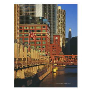 Buildings along the river in downtown Chicago Postcards