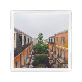 Buildings and Palm Trees in New Orleans Acrylic Tray