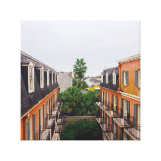Buildings and Palm Trees in New Orleans Canvas Print