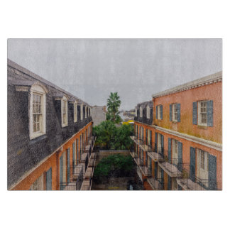 Buildings and Palm Trees in New Orleans Cutting Board
