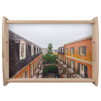 Buildings and Palm Trees in New Orleans Serving Tray