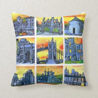 Buildings famous landmarks square throw cushion