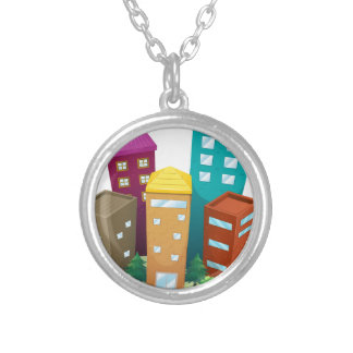 Buildings Silver Plated Necklace