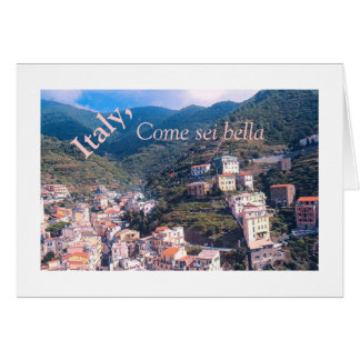 """Buildings 'Tumbling Down' Italian Hillside"" Stationery Note Card"
